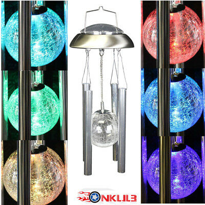 NEW Solar Powered Wind Chimes Color Changing Led Light Outdoor Garden Décor USA