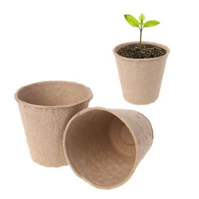 50Pcs Round Biodegradable Paper Pulp Peat Plant Pots Nursery Cup Tray Garden