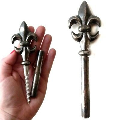 Silver Plated Hidden Corkscrew Vtg Fleur De Lis Bar Tool Bottle Opener Waiter