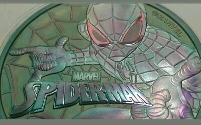 2017 Tuvalu marvel spiderman 1oz silver coin , awesome toned. Toned