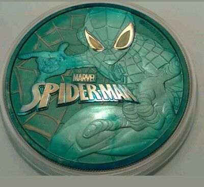 2017 Tuvalu marvel spiderman 1oz silver coin , awesome toned. * Toned *
