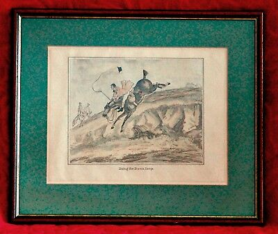 "HENRY ALKEN (19TH CENTURY) Hand Coloured Engraving ""Doing the Down Leap"""