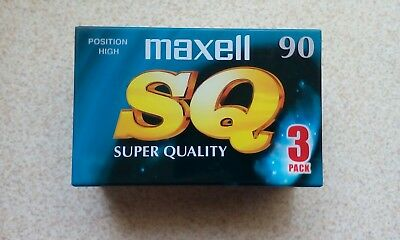 Maxell Type Ii Sq 90 Chrome Blank Audio Cassette Tape X 3 - New & Sealed