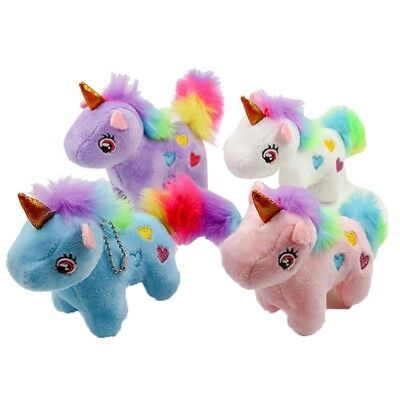 Kawaii Colorful Unicorn Stuffed Doll Plush Keychain Baby Toys Kids Gifts