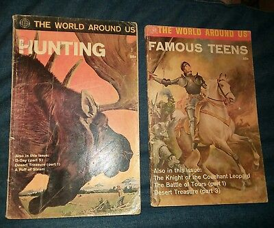 World Around Us #31 & 33 Hunting, famous teens Jack Kirby art lot run collection