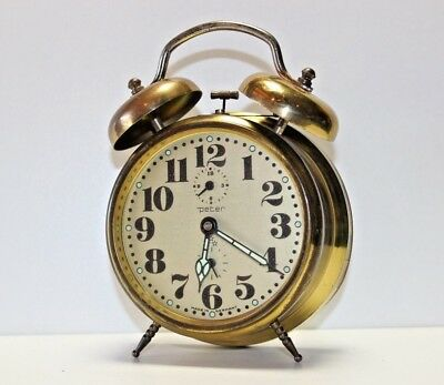 VTG PETER Twin Bell Wind up Alarm ClOCK Brass Finish WORKS FINE German Quality