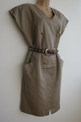 Vintage 80s dress, beige brown, double breasted, tapered, sleeveless, pockets,12