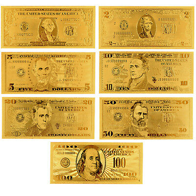 7Pcs/Set Gold Foil US Dollar Banknote Money Fake Currency Bill Collections gift