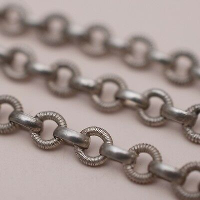 Antique Victorian Sterling Silver Ribbed Link Belcher Chain Necklace