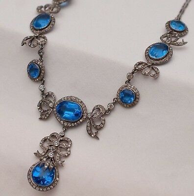 Vtg Antique Victorian Edwardian Belle Epoque Paste Bow Sterling Silver Necklace