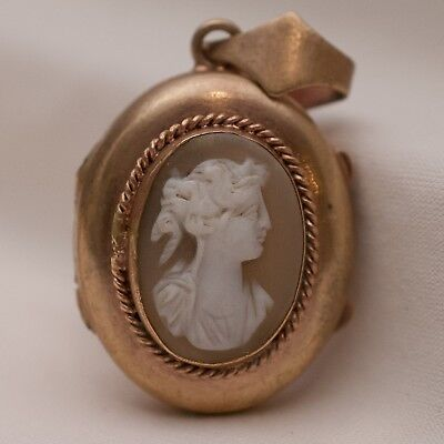 Vtg 1930's Art Deco Carved Shell Cameo Glass Photo Miniature Gold Gilt Locket