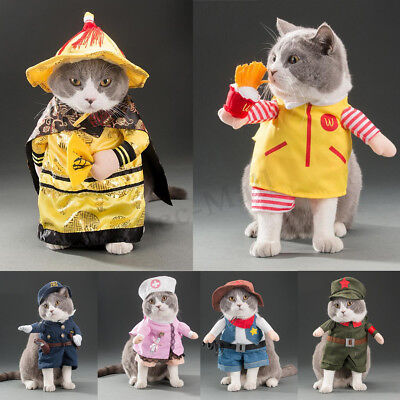 Pet Dog Cat Puppy Christmas Costume Dress Up Fancy Clothes Coat Cosplay Apparel