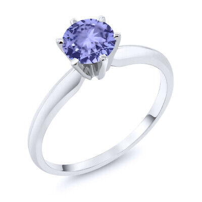 0.90 Ct Blue Tanzanite 14K White Gold Engagement Solitaire Ring