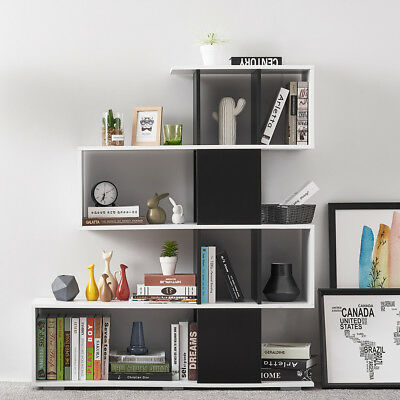 S Shape 4 Tier Bookshelf Bookcase Floor Standing Storage Display Shelf Unit Home