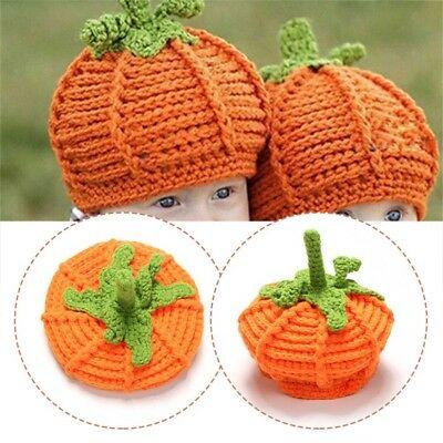 Cute Baby Pumpkin Hat Newborn Photography Props Kids Halloween Crochet Knit