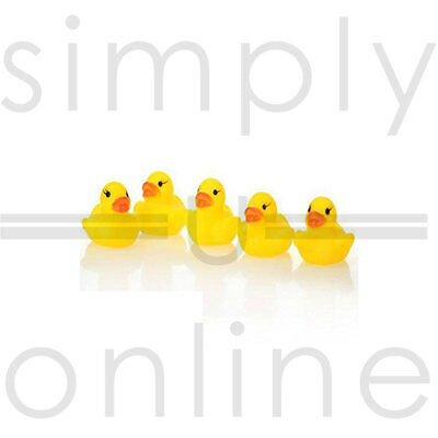 5 X Mini Yellow Baby Toddler Bath Time Squeaky Rubber Ducks