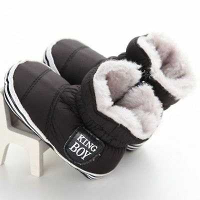 Baby Kids Furry Winter Warm Snow Boots Booties Boy Crib Shoes Prewalkers 0-18M
