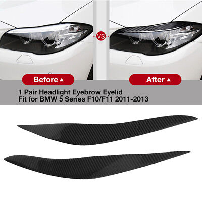 Real Carbon Fiber Headlight Eyebrows EyeLid Cover For BMW 5 Series F10 F11 11-13