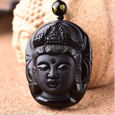 """Natural Obsidian Chinese Hand Carved """"Jade Guanyin Head"""" Necklace Pendant New"""