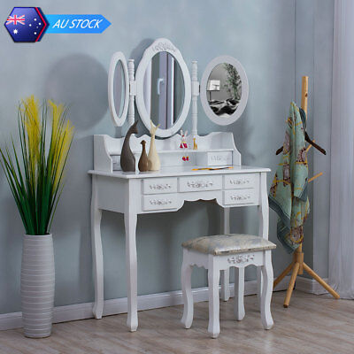 Vanity Makeup Table Set Tri Folding Mirror Dressing Table 7 Drawers Stool White