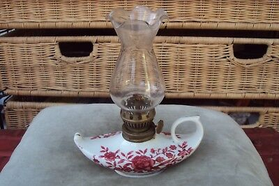 Vintage Pretty Pottery Oil Lamp With Original Glass Chimney.