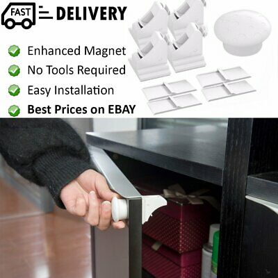 Invisible Magnetic Baby Child Pet Proof Cupboard Door Drawer Fridge Safety Lock