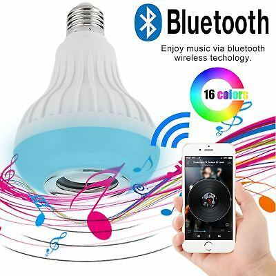 Bluetooth Wireless LED Light Speaker Bulb RGB E27 12W Music Playing lamp Remote