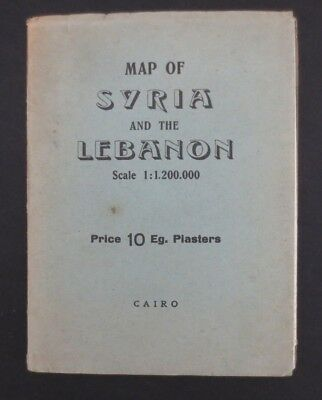 1950s Syria Lebanon colour Map published Cairo Iraq Beirut Middle East Palestine