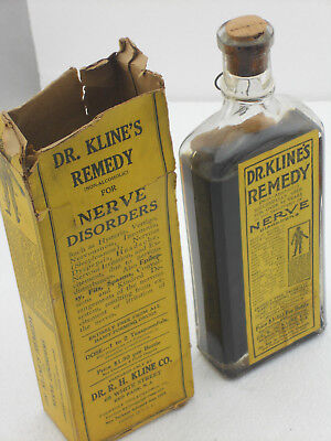 Vintage 1920s DR. KLINES Remedy for Neve Disorders Clear Bottle Medicine Box