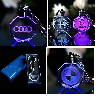 Laser Engraved Crystal Car Keychain LED Light Wall Hanging Rings With Box