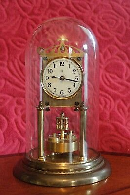 Antique, Early 1900, 'Badische' German 400-Day Anniversary Clock in Glass Dome