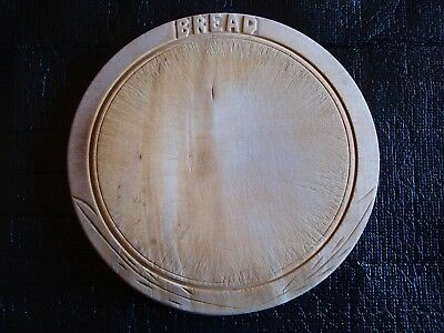Vintage Round Thick Wooden Bread Board Hand Carved Used but Good