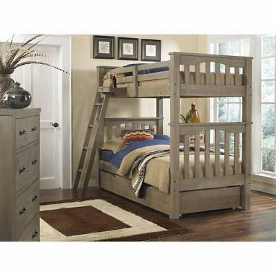 NE Kids Highlands Driftwood Harper Twin/Twin Bunk Bed with Trundle - 10051NT