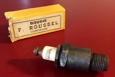 """Antique  """"BOUGIE F. ROUSSEL """"   SPARK PLUG  ( with box )"""