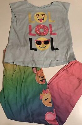 The Childrens Place Girls Pajama Set Size 7-8 Emojis