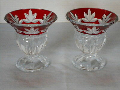 Cristal D'arques Corinth Ruby Candle Holders- Paris