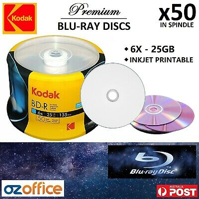 50 x Data Bank Blank Blu-Ray Discs 25GB BDR 12X White Inkjet Printable Disc