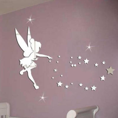 8398 Mirror Wall Stickers Fairy Blowing Stars Acrylic Self-Adhesive 3D Decal