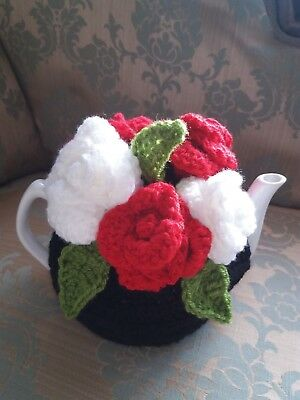 Vintage Tea Room look hand crochet black with bouquet of red and white roses