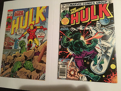 Incredible Hulk #131 (1970, vs Iron Man, 1st Jim Wilson) & #250 (1980 vs Surfer)