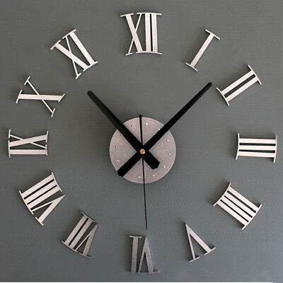 Large 3D Wall Clock Luxury Mirror Sticker Home Decoration DIY Bedroom 2 Color JA