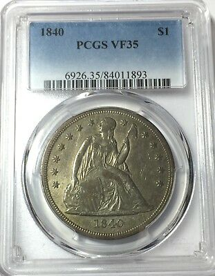 1840 Pcgs Vf35 Seated Liberty Silver Dollar Nice Original Toning Vf 35 #893