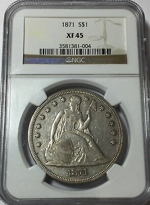 1871 Ngc Xf45 Seated Liberty Silver Dollar Nice Original Toning Xf 45 #004