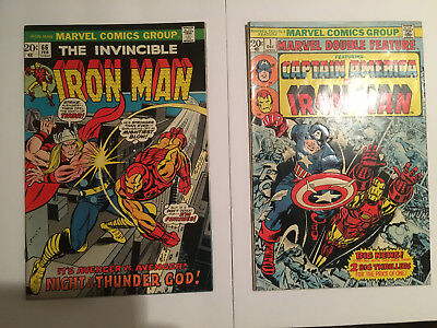 Iron Man #66 (1974~vs Thor) & Marvel Double Feature #1 (1973~Kirby Art~Stan Lee)