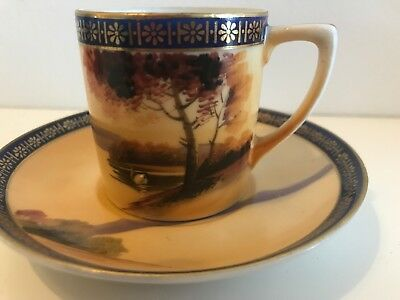 Vintage Hand Painted Landscape Kokura Coffee Cup Saucer Blue Gold Cabinet