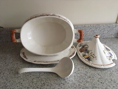 Ceramic Vintage Large Soup Tureen with Platter and Serving Ladle