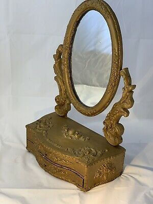 Georgian Regency Dressing Table Mirror In Gold Gilt With Drawer / Antique