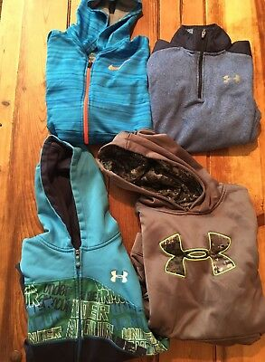 Lot of (4) Boys Nike Under Armour Sweatshirts for Fall Winter, Youth Large 10/12