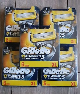 30 Gillette Fusion 5 Proshield Blades 5 X 6 Packs Genuine Uk Stock Free P+P