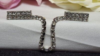 Vintage Silver Estate Rhinestone Drop Fancy Elegant Sweater Guard NOC